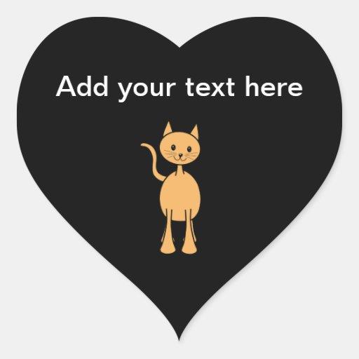 Cute Ginger Cat. Orange Cat Cartoon. Heart Sticker