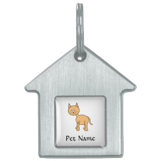 Cute Ginger Cat. Orange Cat Cartoon. Pet Name Tag