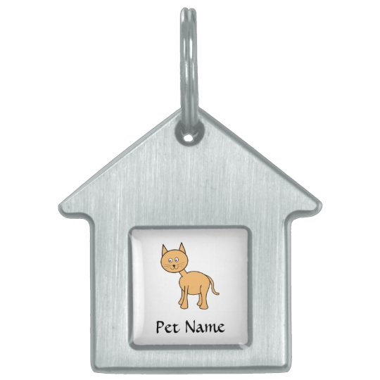 Cute Ginger Cat. Orange Cat Cartoon. Pet Name Tag