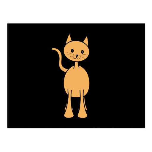 Cute Ginger Cat. Orange Cat Cartoon. Postcard