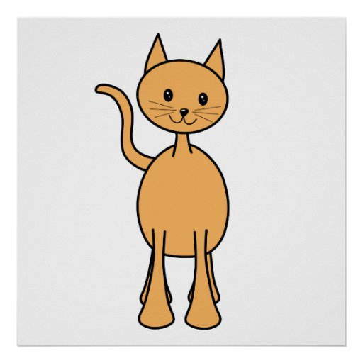 Cute Ginger Cat. Orange Cat Cartoon. Poster