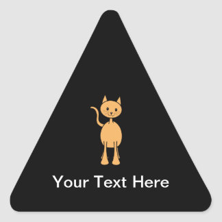 Cute Ginger Cat. Orange Cat Cartoon. Triangle Sticker