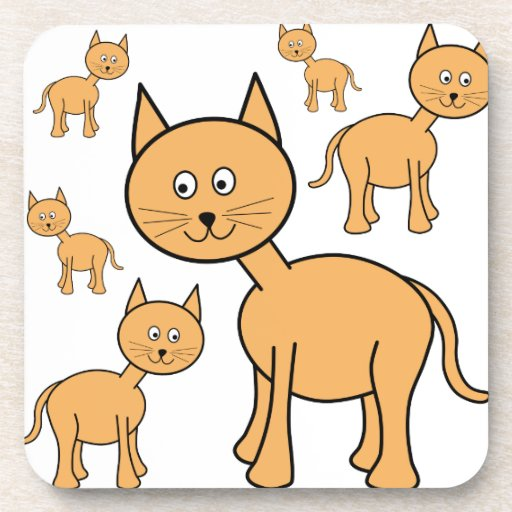 Cute Ginger Cats.  Cat Cartoon. Drink Coasters
