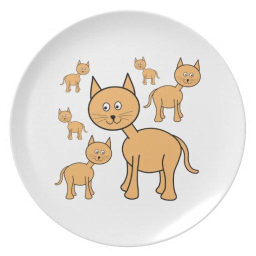 Cute Ginger Cats.  Cat Cartoon. Plates