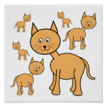 Cute Ginger Cats.  Cat Cartoon. Print