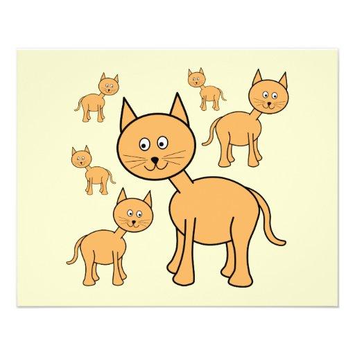 "Cute Ginger Cats. Orange Cat Cartoon. 4.5"" X 5.6"" Flyer"