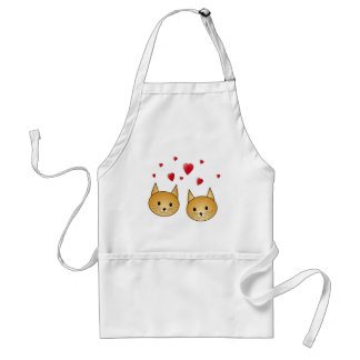 Cute Ginger cats. With Red Love Hearts. Adult Apron