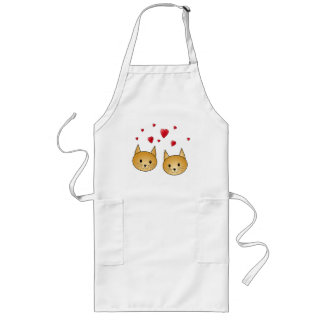 Cute Ginger cats. With Red Love Hearts. Long Apron