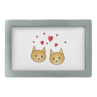 Cute Ginger cats. With Red Love Hearts. Rectangular Belt Buckles
