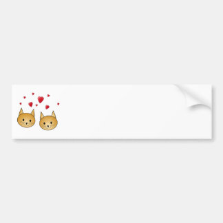 Cute Ginger cats. With Red Love Hearts. Bumper Sticker