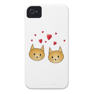 Cute Ginger cats. With Red Love Hearts. iPhone 4 Case-Mate Cases