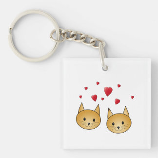 Cute Ginger cats. With Red Love Hearts. Keychain