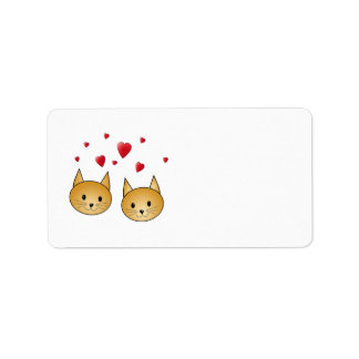 Cute Ginger cats With Red Love Hearts Custom Address Label