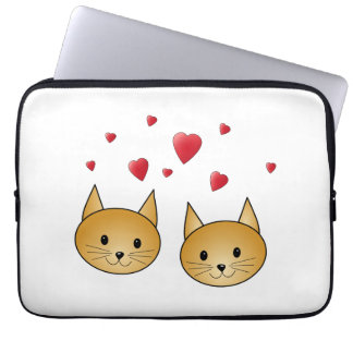 Cute Ginger cats. With Red Love Hearts. Laptop Computer Sleeve