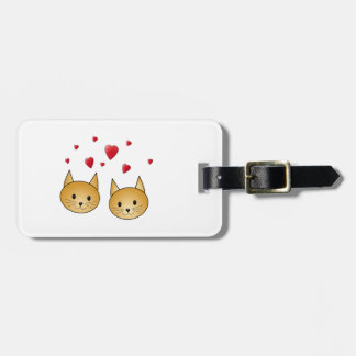 Cute Ginger cats. With Red Love Hearts. Bag Tags