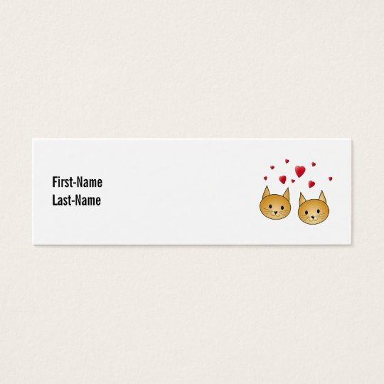 Cute Ginger cats. With Red Love Hearts. Mini Business Card