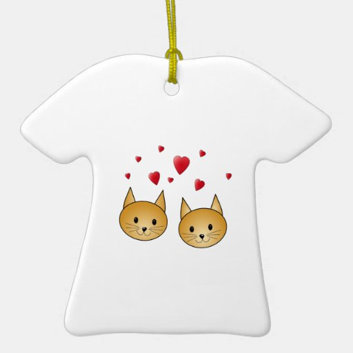 Cute Ginger cats. With Red Love Hearts. Christmas Ornament