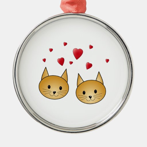 Cute Ginger cats. With Red Love Hearts. Round Metal Christmas Ornament