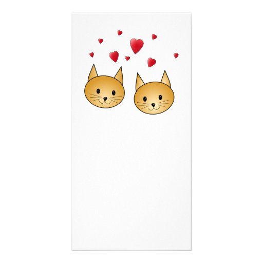 Cute Ginger cats. With Red Love Hearts. Photo Card
