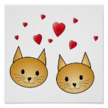 Cute Ginger cats. With Red Love Hearts. Posters