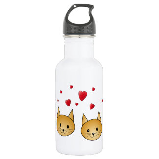 Cute Ginger cats. With Red Love Hearts. Stainless Steel Water Bottle