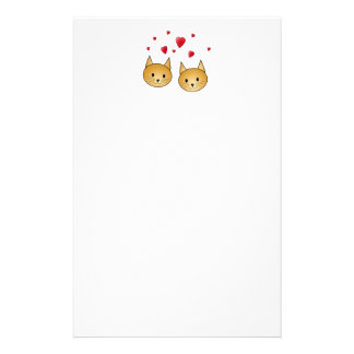 Cute Ginger cats. With Red Love Hearts. Stationery