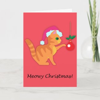 Cute Ginger Kitten Christmas Card