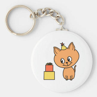 Cute Ginger Kitten Wearing a Birthday Hat. Keychains