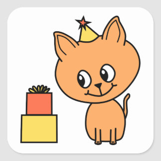 Cute Ginger Kitten Wearing a Birthday Hat. Square Sticker