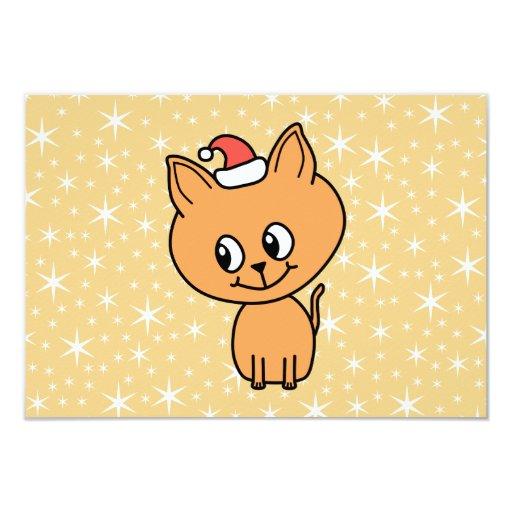 Cute Ginger Kitten Wearing a Christmas Hat. Invite