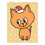 Cute Ginger Kitten Wearing a Christmas Hat. Post Cards