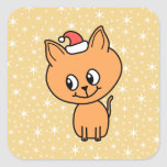 Cute Ginger Kitten Wearing a Christmas Hat. Stickers