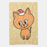 Cute Ginger Kitten Wearing a Christmas Hat. Towel