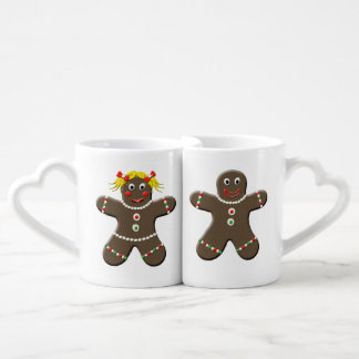 Cute Gingerbread Boy & Gingerbread Girl Christmas Couple Mugs