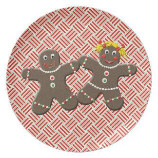 Cute Gingerbread Boy Girl Husband Wife Christmas Dinner Plate