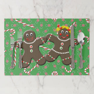 Cute Gingerbread Boy Girl Mr & Mrs Christmas Paper Placemat