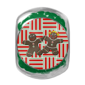 Cute Gingerbread Boy Girl Mr Mrs Christmas Red Glass Candy Jars