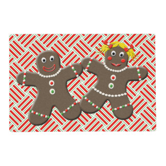 Cute Gingerbread Boy Girl Mr Mrs Christmas Red Placemat