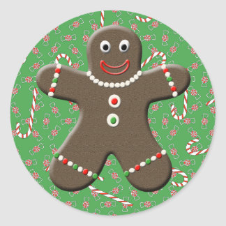 Cute Gingerbread Boy Man Candy Canes Christmas Classic Round Sticker