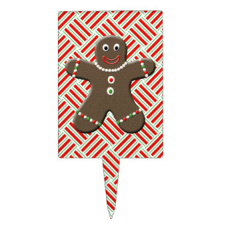 Cute Gingerbread Boy Man Christmas Holiday Cake Topper