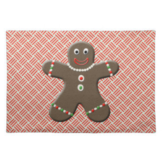 Cute Gingerbread Boy Man Red Christmas Holiday Cloth Placemat