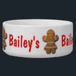 """Cute Gingerbread Cookie Bowl<br><div class=""""desc"""">Customize this smiling gingerbread woman wearing a funny party dress! Replace the text with your pet&#39;s name. Surprise someone furry this holiday season with a nice Christmas gift! :)</div>"""