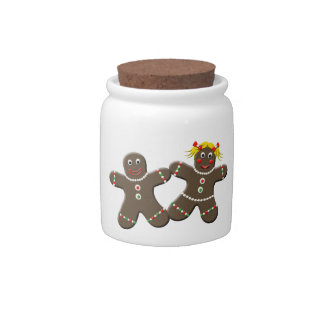Cute Gingerbread Cookie Couple Christmas Candy Jar