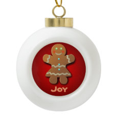 Cute Gingerbread Cookie In Party Dress Ceramic Ball Christmas Ornament