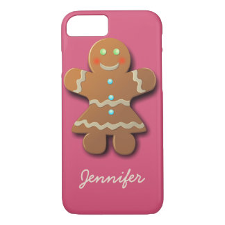 Cute Gingerbread Cookie In Party Dress iPhone 7 Case