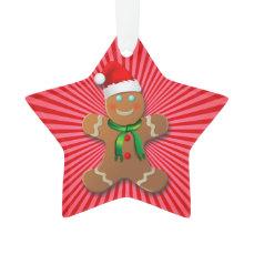 Cute Gingerbread Cookies Cartoon Ornament