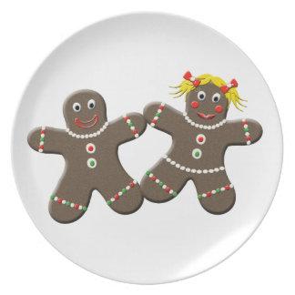 Cute Gingerbread Couple Boy Girl Christmas Plate