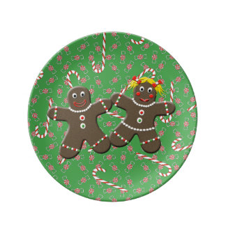 Cute Gingerbread Couple Boy & Girl Christmas Porcelain Plate