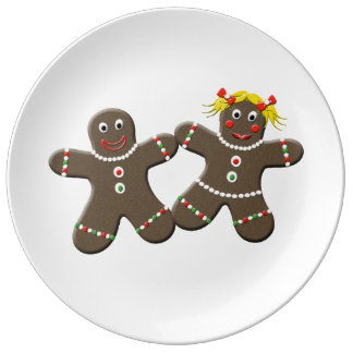 Cute Gingerbread  Couple Decorative Christmas Porcelain Plates
