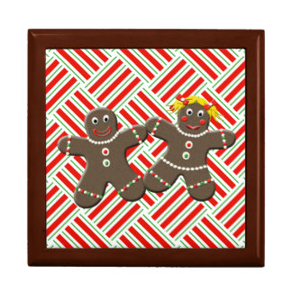 Cute Gingerbread Couple Girl Boy Christmas Mr Mrs Keepsake Box